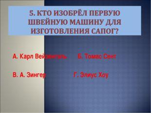 А. Карл Вейзенталь Б. Томас Сент В. А. Зингер Г. Элиус Хоу