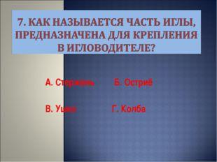 А. Стержень Б. Остриё В. Ушко Г. Колба