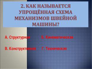 А. Структурная Б. Кинематическая В. Конструктивная Г. Техническая