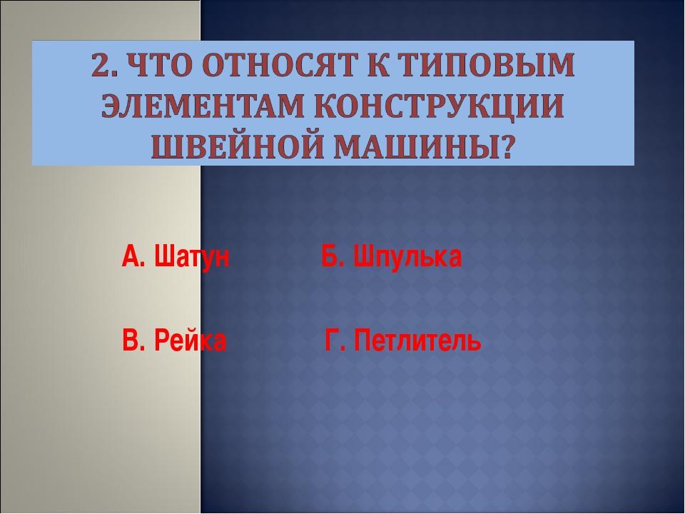 А. Шатун Б. Шпулька В. Рейка Г. Петлитель