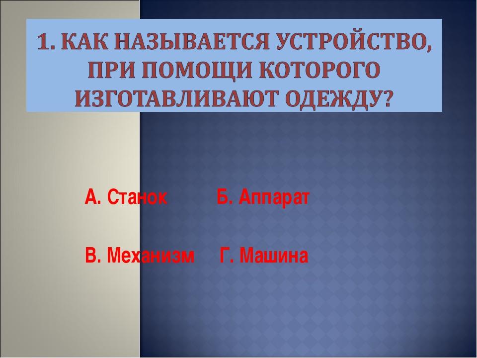 А. Станок Б. Аппарат В. Механизм Г. Машина