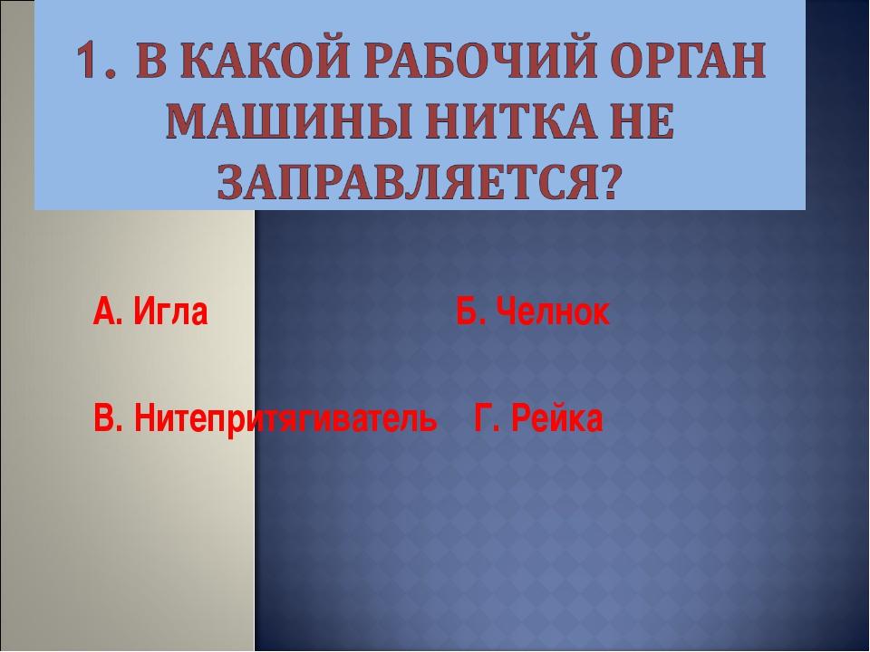 А. Игла Б. Челнок В. Нитепритягиватель Г. Рейка