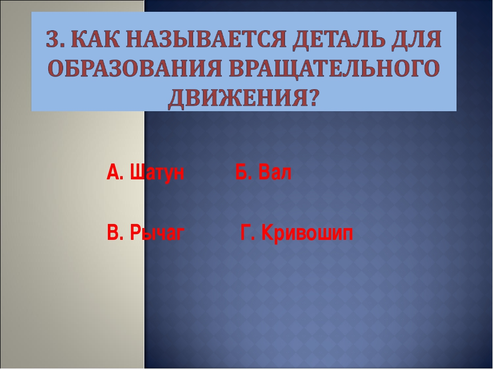 А. Шатун Б. Вал В. Рычаг Г. Кривошип