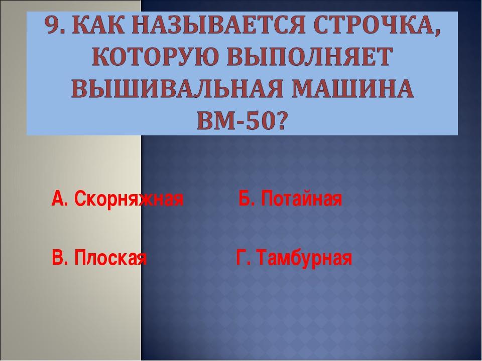 А. Скорняжная Б. Потайная В. Плоская Г. Тамбурная
