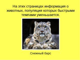 На этих страницах информация о животных, популяция которых быстрыми темпами у
