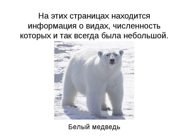 На этих страницах находится информация о видах, численность которых и так все...