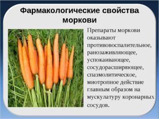 Фармакологические свойства моркови Препараты моркови оказывают противовоспали