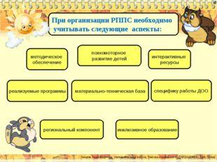 При организации РППС необходимо учитывать следующие аспекты: психомоторное ра