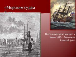 «Морским судам быть» « Всего за несколько месяцев, к весне 1696 г., был созда