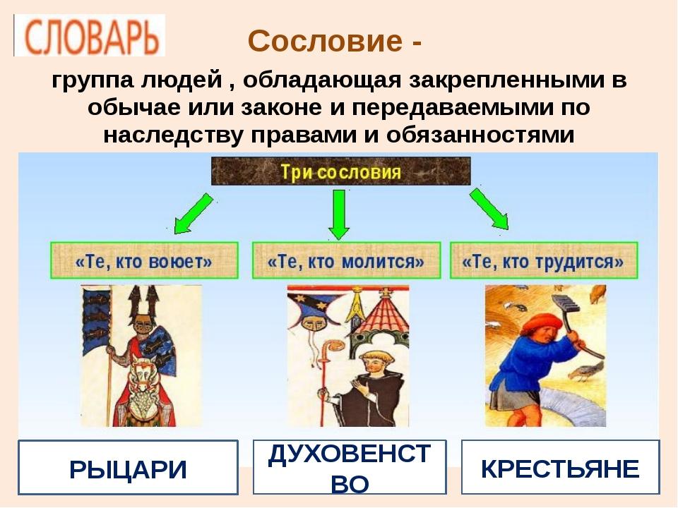 Сословие - группа людей , обладающая закрепленными в обычае илизаконе и пере...