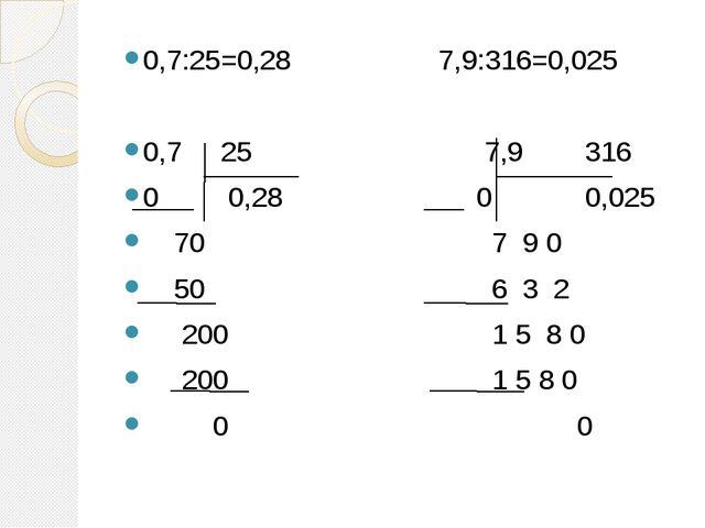 0,7:25=0,28 7,9:316=0,025 0,7 25 7,9 316 0 0,28 0 0,025 70 7 9 0 50 6 3 2 200...