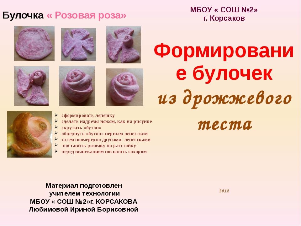 Материал подготовлен учителем технологии МБОУ « СОШ №2»г. КОРСАКОВА Любимовой...