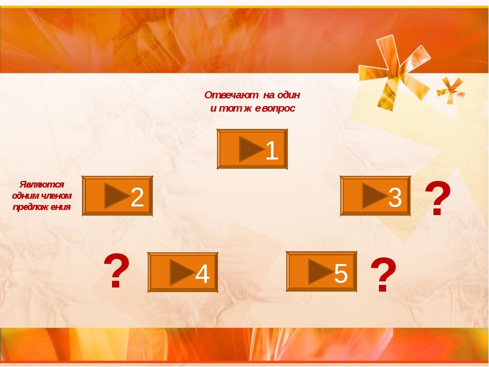 1 2 3 4 5 Отвечают на один и тот же вопрос Являются одним членом предложения...