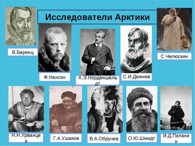 Исследователи Арктики В.Баренц С.Челюскин О.Ю.Шмидт С.И.Дежнев В.А.Обручев Н....