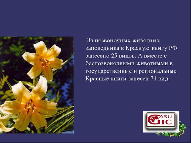 Из позвоночных животных заповедника в Красную книгу РФ занесено 25видов. А...