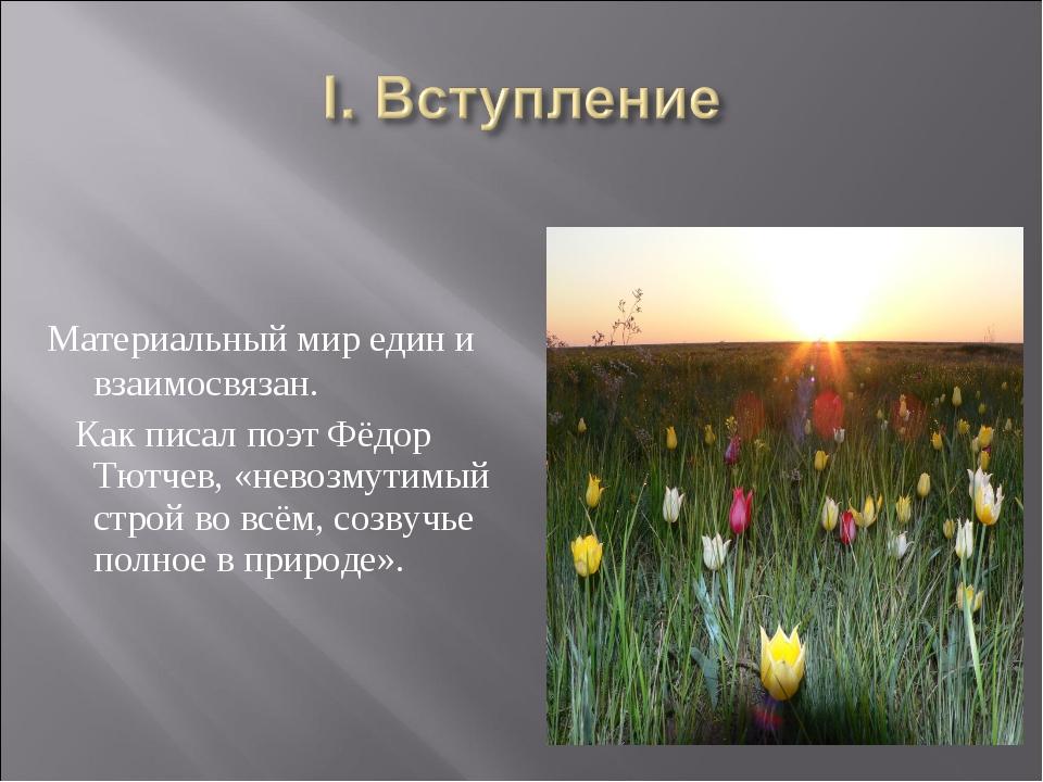 Материальный мир един и взаимосвязан. Как писал поэт Фёдор Тютчев, «невозмут...