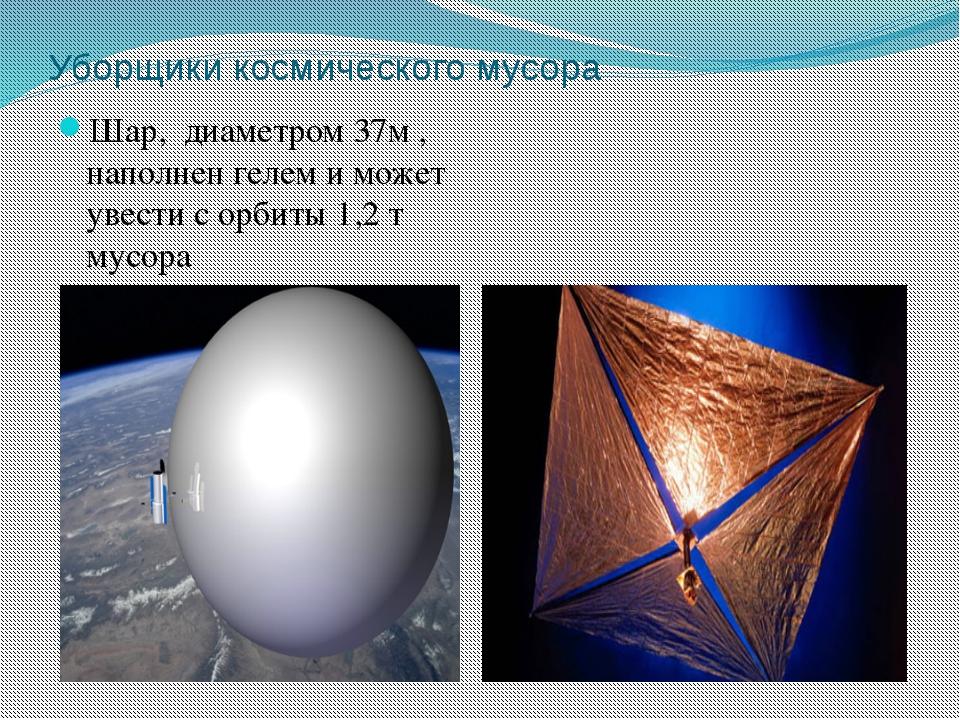 Уборщики космического мусора Шар, диаметром 37м , наполнен гелем и может увес...