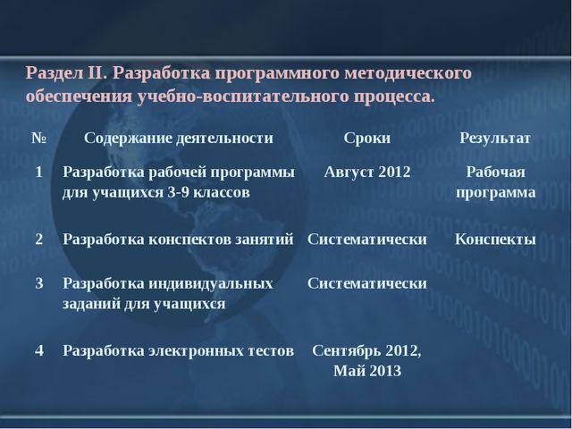 Раздел II. Разработка программного методического обеспечения учебно-воспитате...