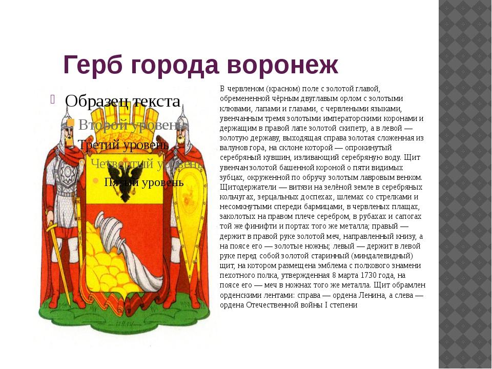 Герб города воронеж В червленом (красном) поле с золотой главой, обремененно...