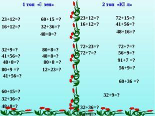 1 топ «Өзен» 23+12=? 60+15 =? 16+12=? 32+36=? 48+8=? 32+9=? 80+8=? 41+56=? 48