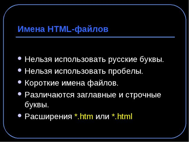 Имена HTML-файлов Нельзя использовать русские буквы. Нельзя использовать проб...