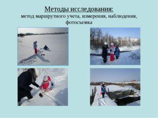 Методы исследования: метод маршрутного учета, измерения, наблюдения, фотосъемка