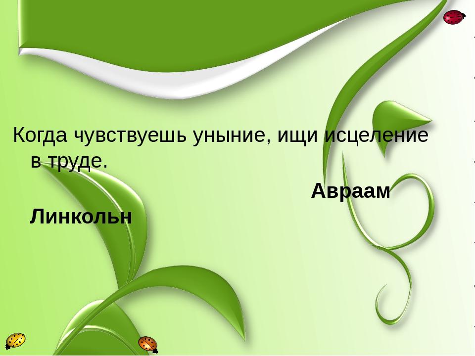 Когда чувствуешь уныние, ищи исцеление в труде. Авраам Линкольн