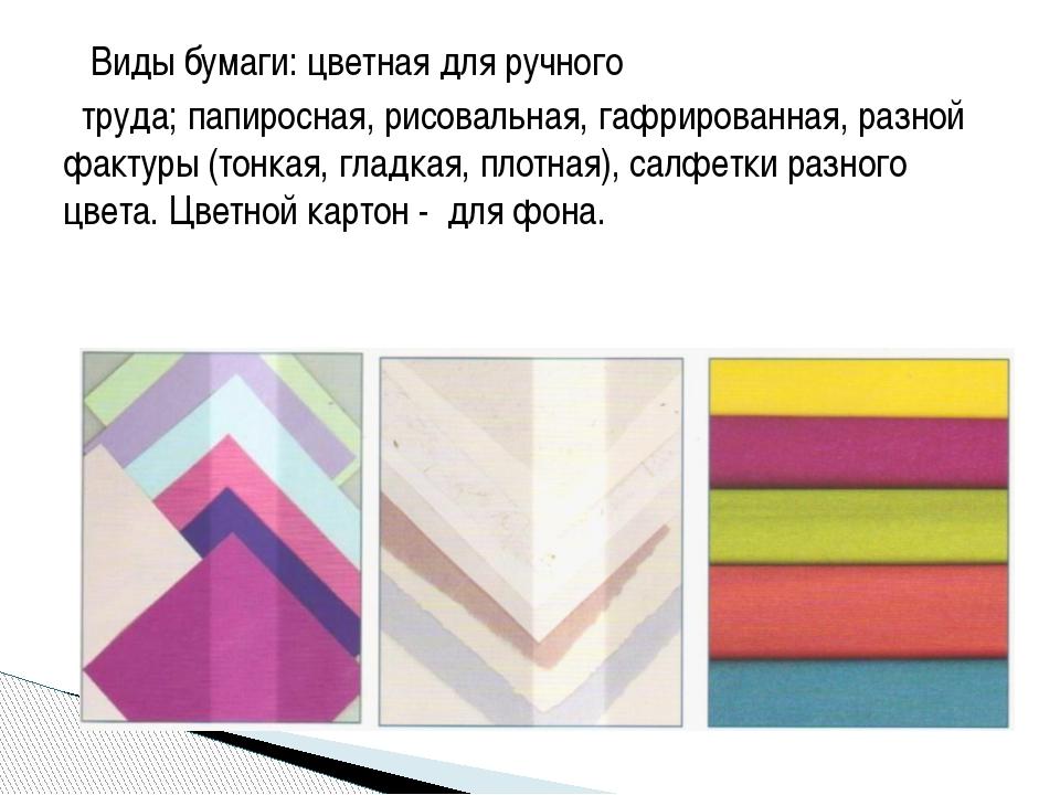 Виды бумаги: цветная для ручного труда; папиросная, рисовальная, гафрированн...