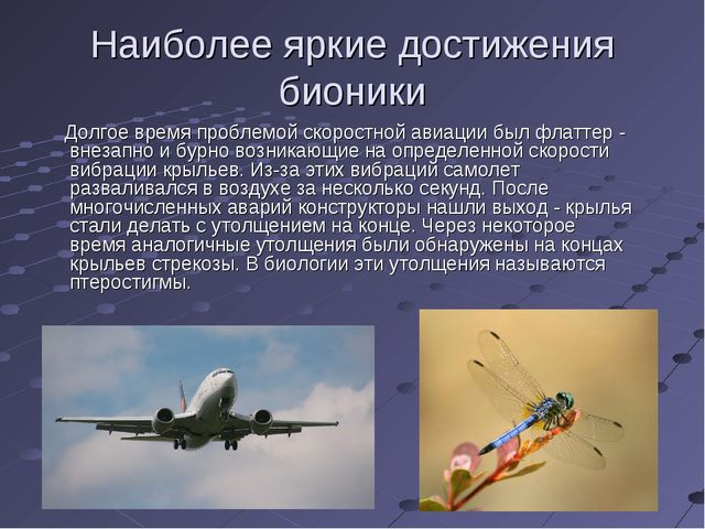 Наиболее яркие достижения бионики Долгое время проблемой скоростной авиации б...