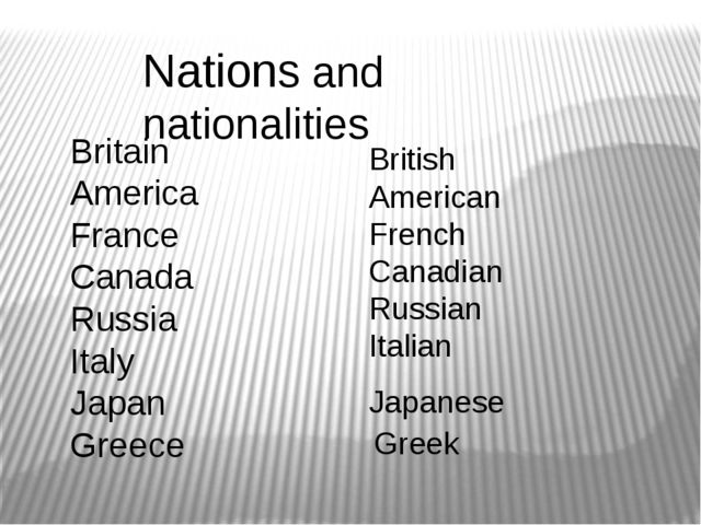 Nations and nationalities Britain America France Canada Russia Italy Japan Gr...