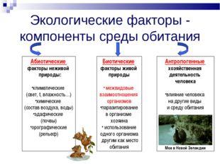 Экологические факторы - компоненты среды обитания Абиотические факторы неживо