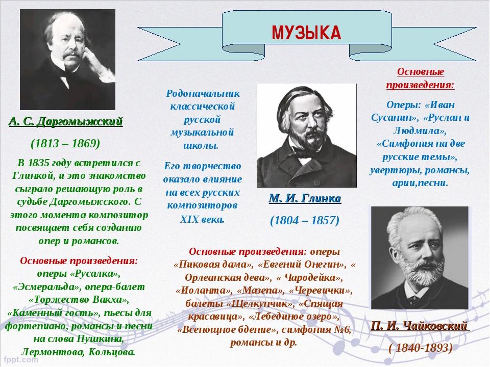 А. С. Даргомыжский (1813 – 1869) В 1835 году встретился с Глинкой, и это знак...