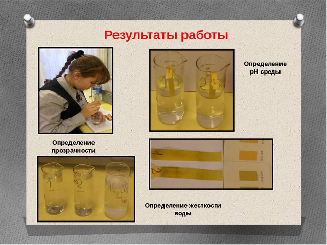 Результаты работы Определение прозрачности Определение жесткости воды Определ...