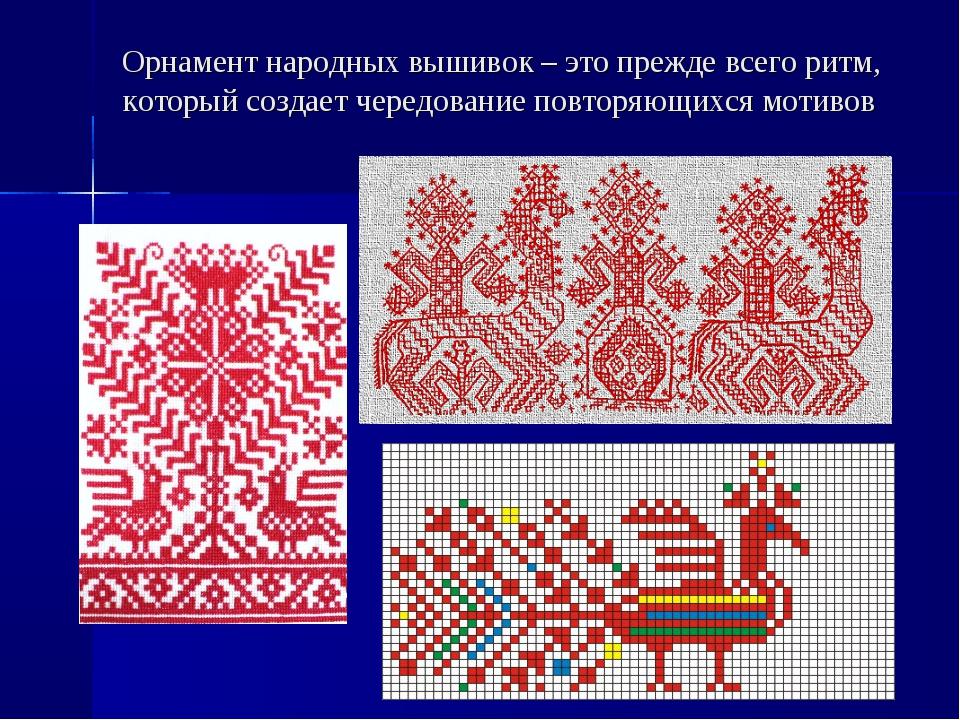 Орнамент народных вышивок – это прежде всего ритм, который создает чередовани...