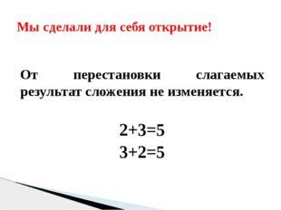От перестановки слагаемых результат сложения не изменяется. 2+3=5 3+2=5 Мы с