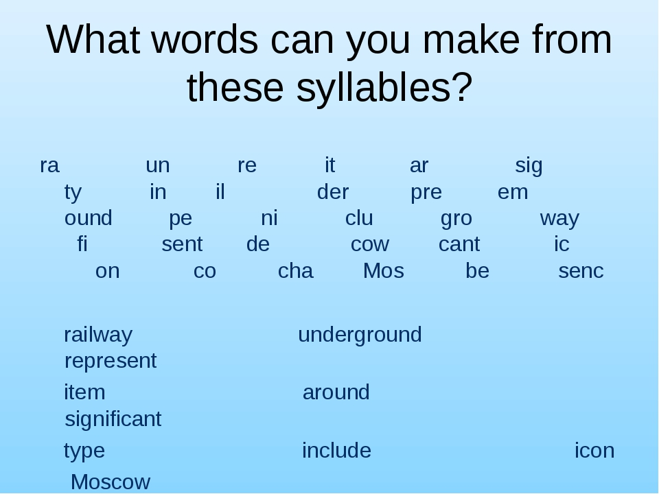 What words can you make from these syllables? ra un re it ar sig ty in il der...