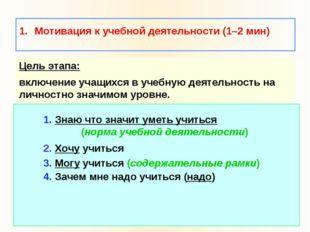 Мотивация к учебной деятельности (1–2 мин) Цель этапа: включение учащихся в