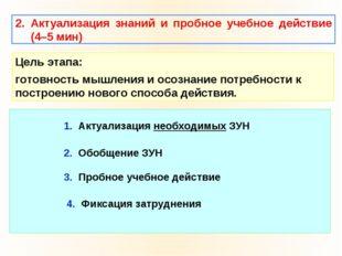 2. Актуализация знаний и пробное учебное действие (4–5 мин) Цель этапа: готов