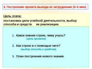 4. Построение проекта выхода из затруднения (4–6 мин) Цель этапа: постановка