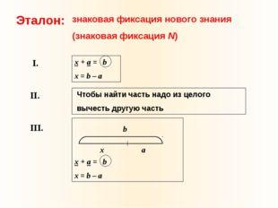 Эталон: знаковая фиксация нового знания (знаковая фиксация N) x + а = b x = b