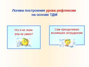 Логика построения урока рефлексии на основе ТДМ