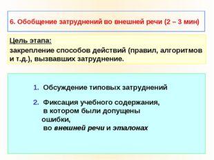 6. Обобщение затруднений во внешней речи (2 – 3 мин) 1. Обсуждение типовых за