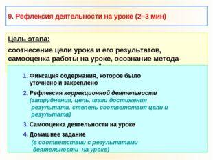 9. Рефлексия деятельности на уроке (2–3 мин) Цель этапа: соотнесение цели уро