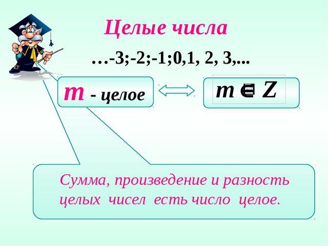 Целые числа …-3;-2;-1;0,1, 2, 3,... m - целое Сумма, произведение и разность...