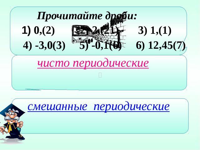 0,(2) 2) 2,(21) 3) 1,(1) Прочитайте дроби: 4) -3,0(3) 5) -0,1(6) 6) 12,45(7)...
