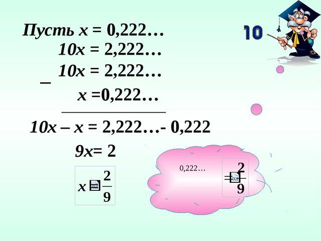 Пусть х = 0,222… 10х = 2,222… х =0,222… 10х = 2,222… 10х – х = 2,222…- 0,222...