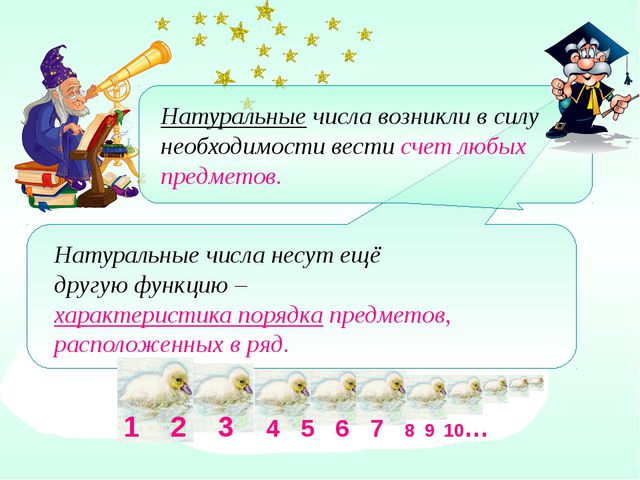 1 2 3 4 5 6 7 8 9 10… Натуральные числа несут ещё другую функцию – характери...