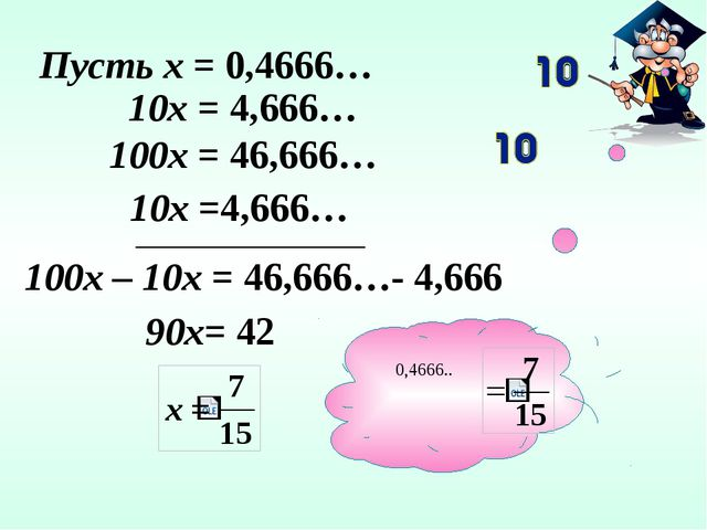 Пусть х = 0,4666… 10х = 4,666… 10х =4,666… 100х = 46,666… 100х – 10х = 46,66...