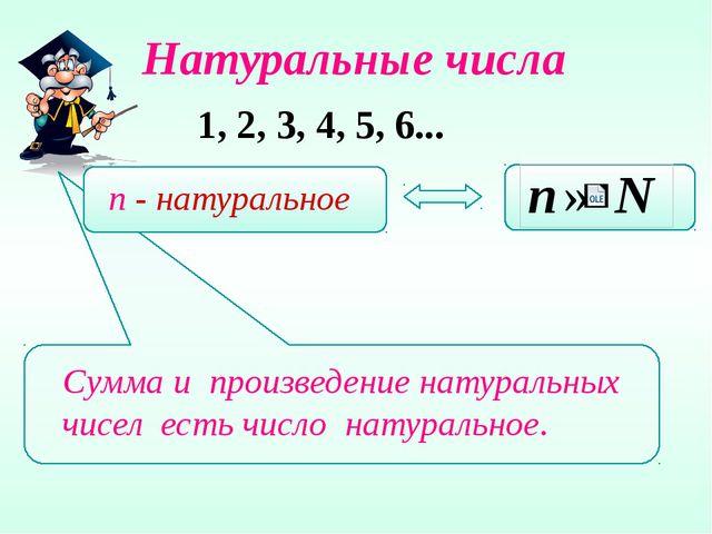 Натуральные числа 1, 2, 3, 4, 5, 6... Сумма и произведение натуральных чисел...