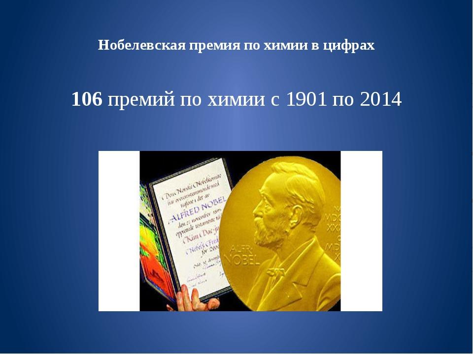 Нобелевская премия по химии в цифрах 106 премий по химии с 1901 по 2014